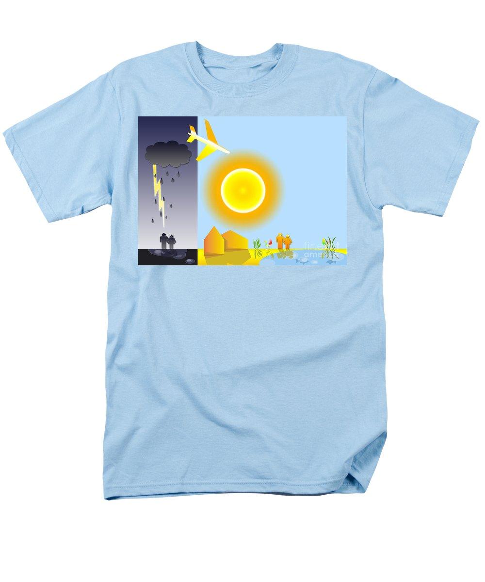 Sun Men's T-Shirt (Regular Fit) featuring the digital art Sunshine and Rain by Muirhead Gallery