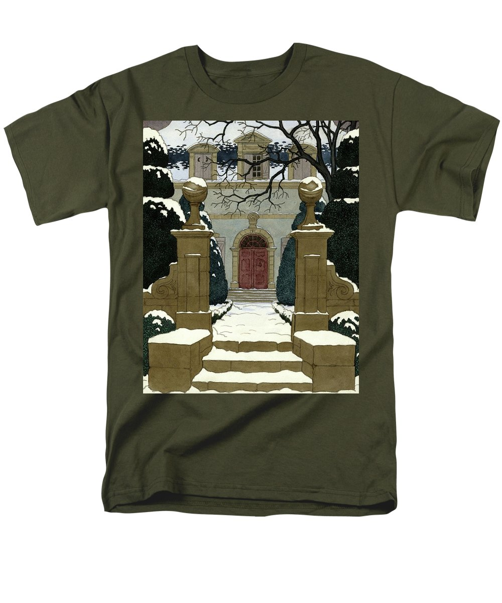 Exterior Men's T-Shirt (Regular Fit) featuring the digital art A Snow Covered Pathway Leading To A Mansion by Pierre Brissaud