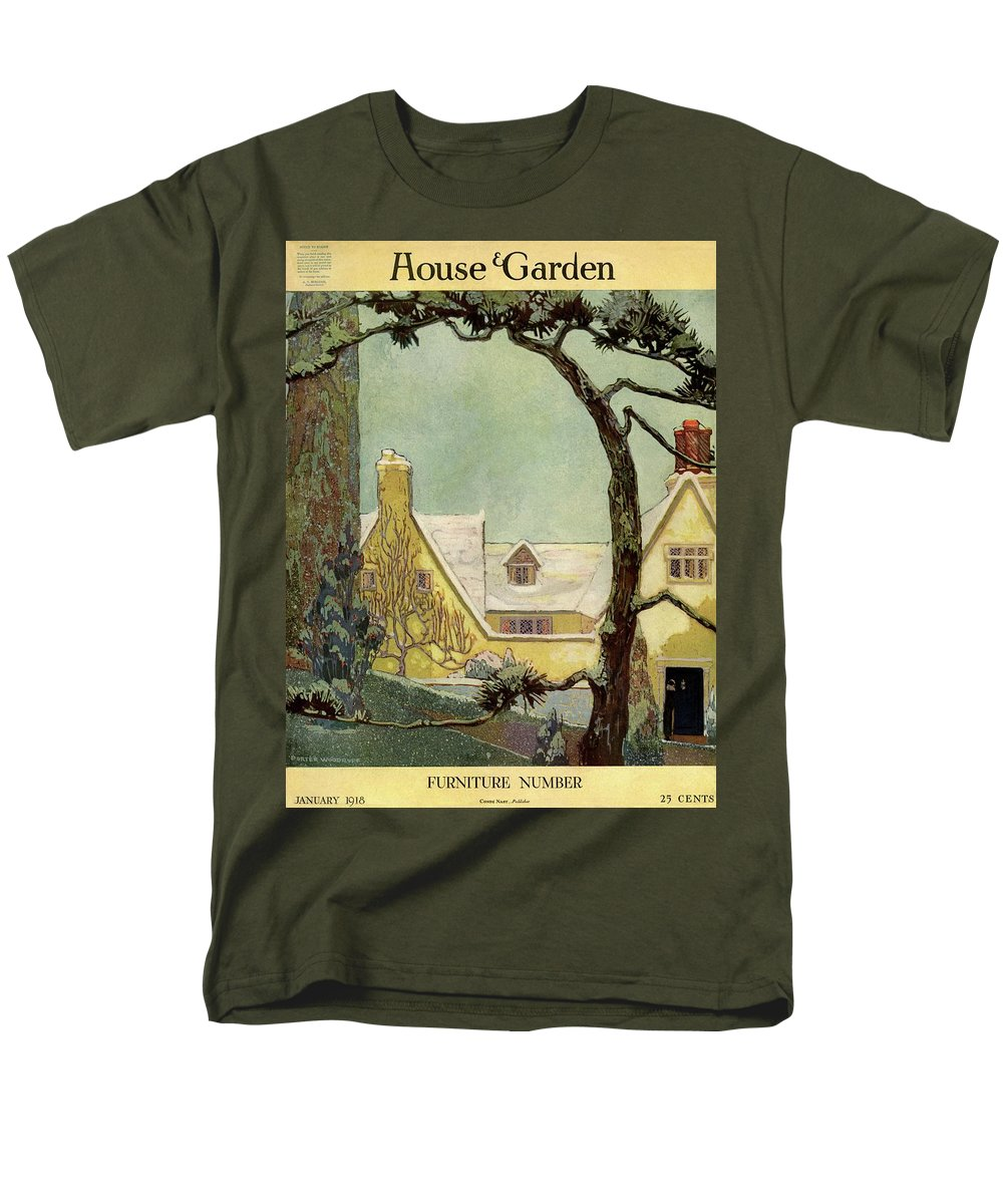 House And Garden Men's T-Shirt (Regular Fit) featuring the photograph An English Country House by Porter Woodruff