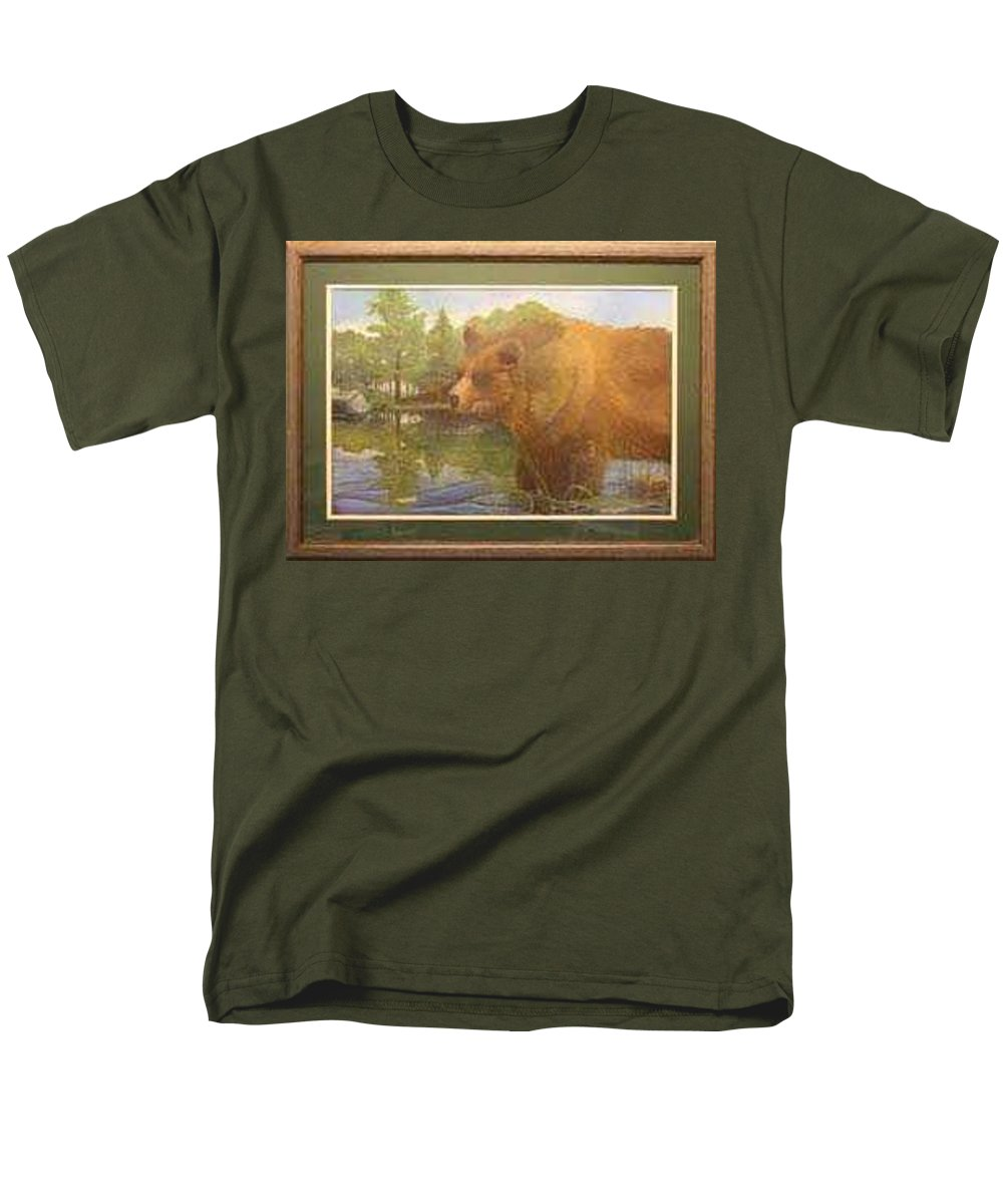 Rick Huotari Men's T-Shirt (Regular Fit) featuring the painting Grizzly by Rick Huotari