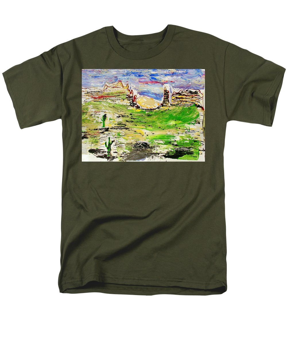 Cactus Men's T-Shirt (Regular Fit) featuring the painting Arizona Skies by J R Seymour