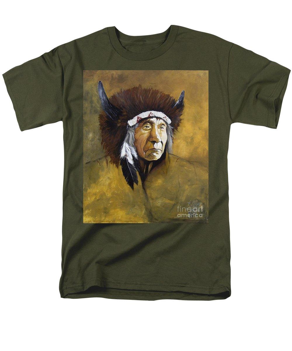 Shaman Men's T-Shirt (Regular Fit) featuring the painting Buffalo Shaman by J W Baker