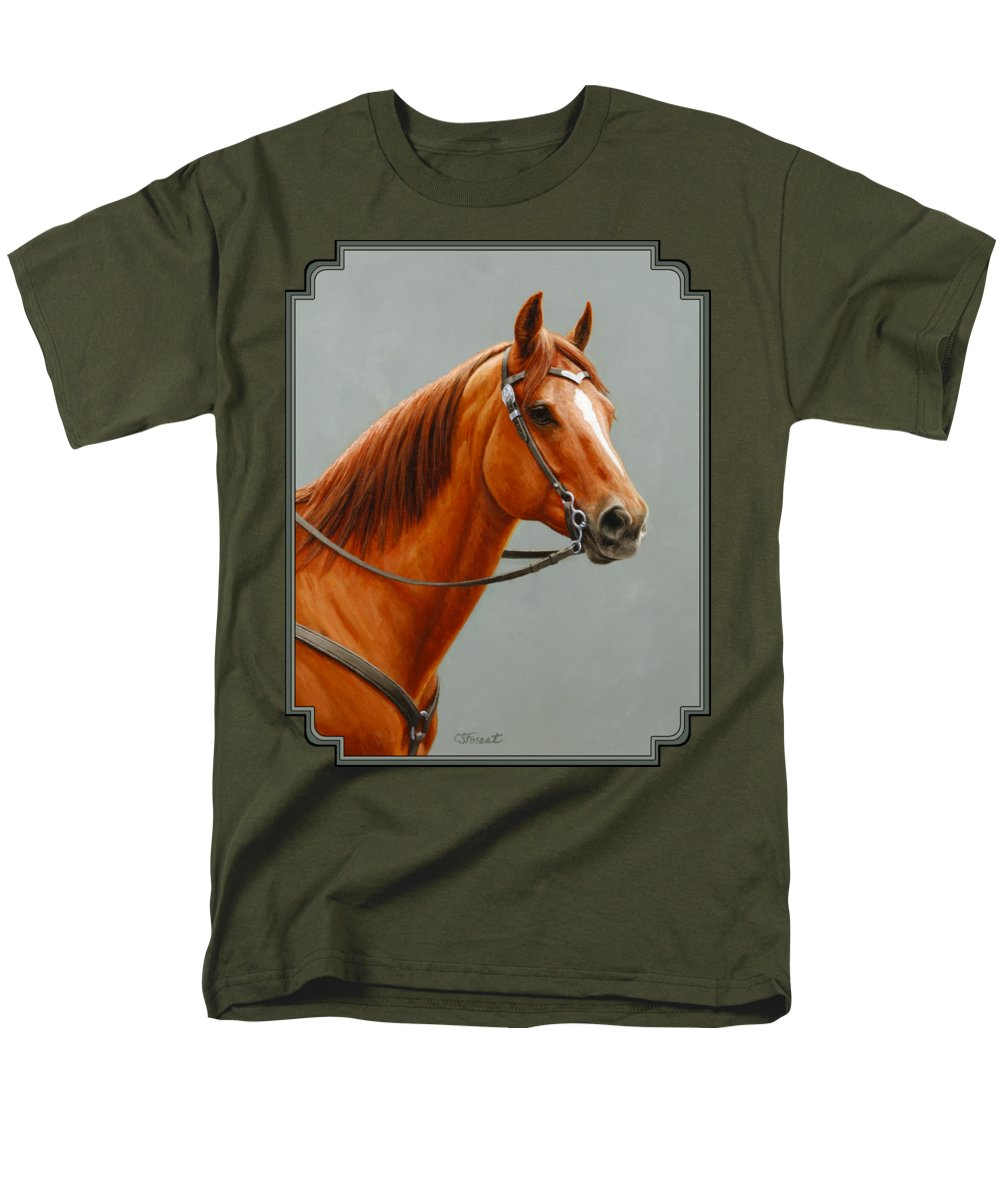 Horse Men's T-Shirt (Regular Fit) featuring the painting Chestnut Dun Horse Painting by Crista Forest