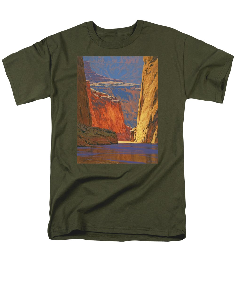 Grand Canyon Men's T-Shirt (Regular Fit) featuring the painting Deep In The Canyon by Cody DeLong