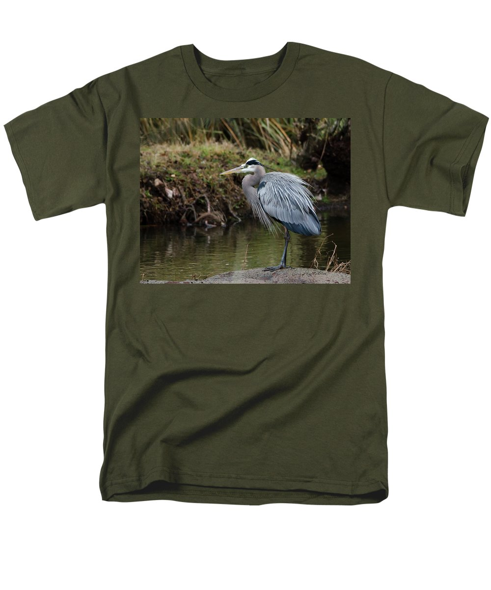 Hero Men's T-Shirt (Regular Fit) featuring the photograph Great Blue Heron On The Watch by George Randy Bass
