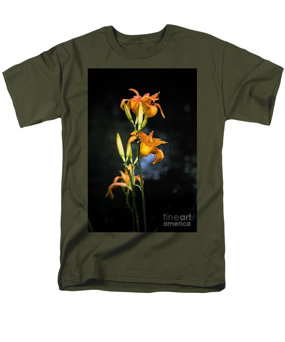 Lily Monet Garden Flora Men's T-Shirt (Regular Fit) featuring the photograph Lily In Monets Garden by Avalon Fine Art Photography