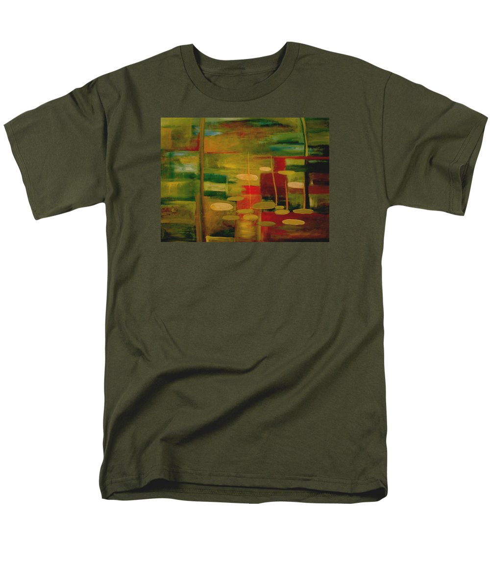 Pond Men's T-Shirt (Regular Fit) featuring the painting Pond Reflections by Jun Jamosmos