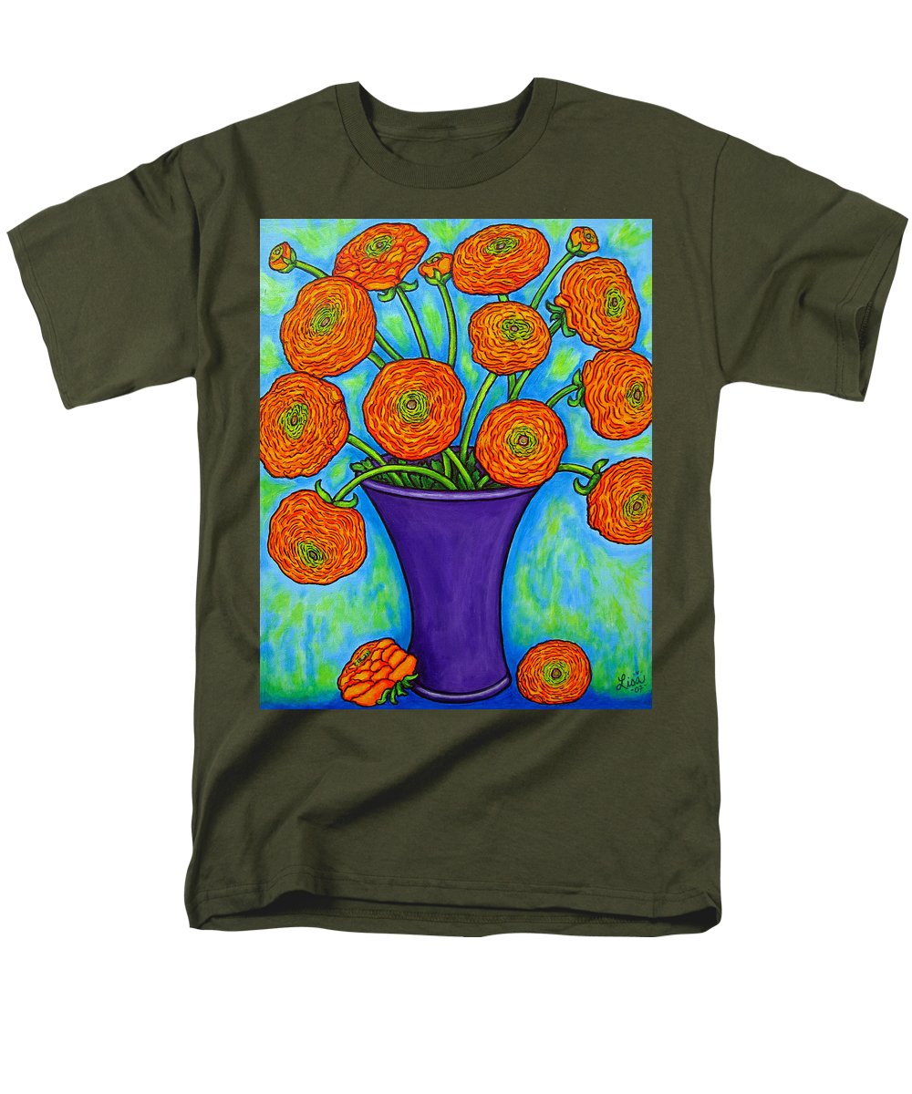Green Men's T-Shirt (Regular Fit) featuring the painting Radiant Ranunculus by Lisa Lorenz
