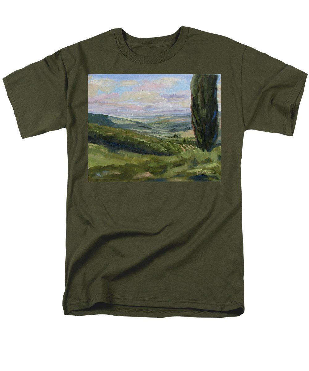Landscape Men's T-Shirt (Regular Fit) featuring the painting View From Sienna by Jay Johnson