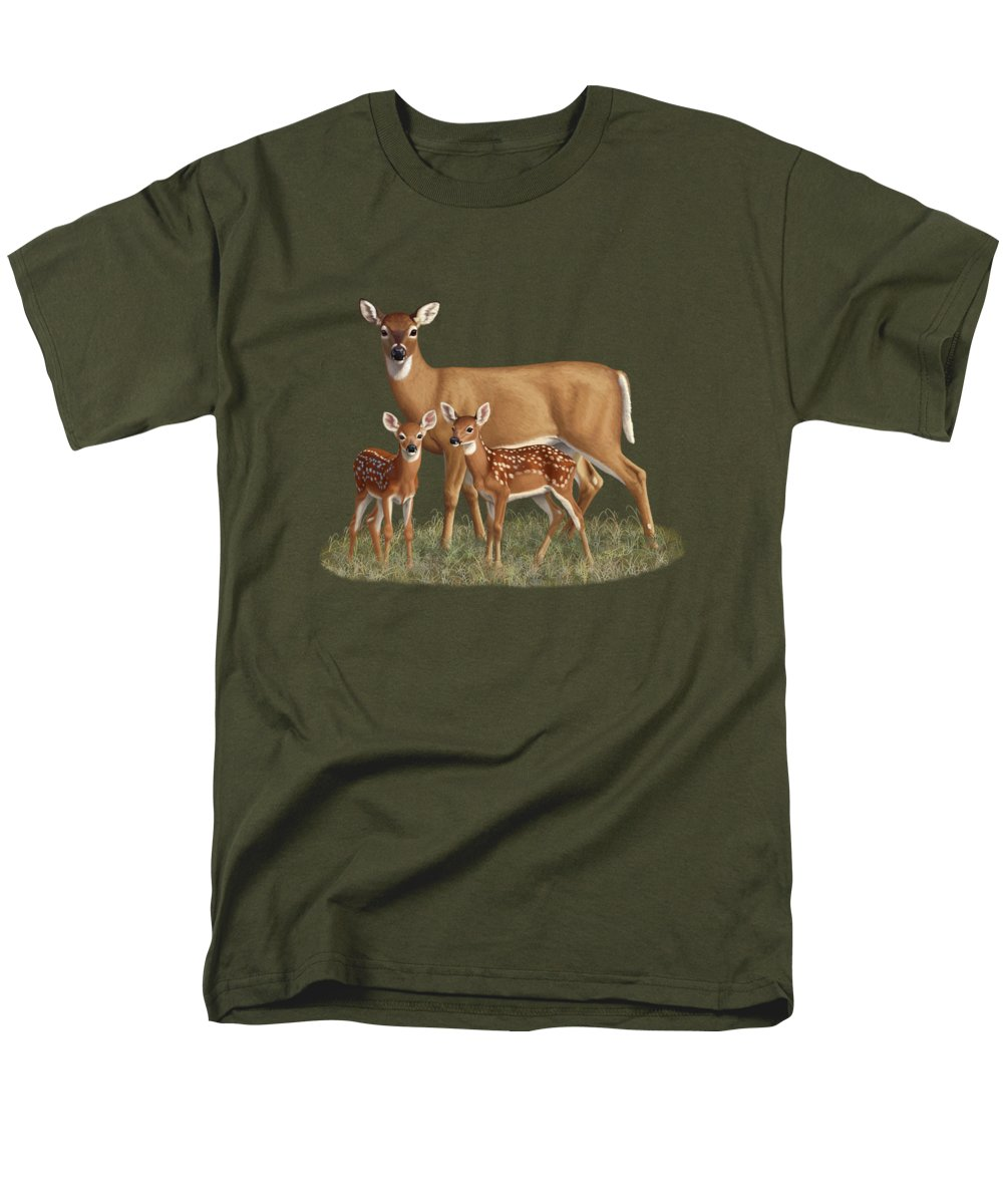 Whitetail Deer Men's T-Shirt (Regular Fit) featuring the painting Whitetail Doe And Fawns - Mom's Little Spring Blossoms by Crista Forest