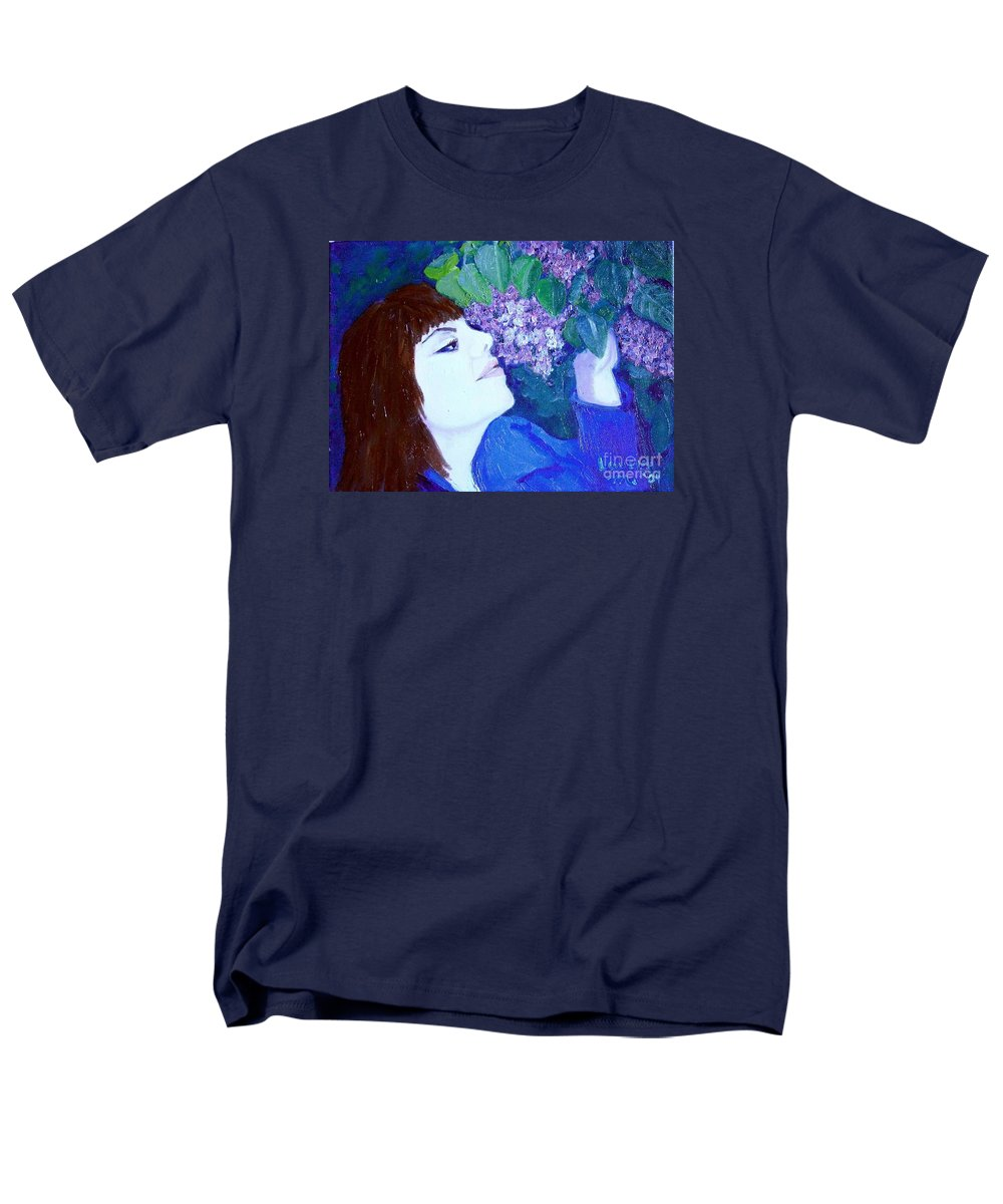 Lilacs Men's T-Shirt (Regular Fit) featuring the painting Lush Lilacs by Laurie Morgan