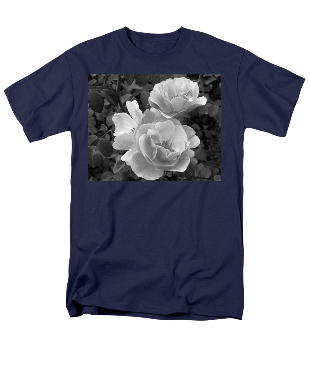 Rose Men's T-Shirt (Regular Fit) featuring the photograph Black and White Roses 2 by Amy Fose