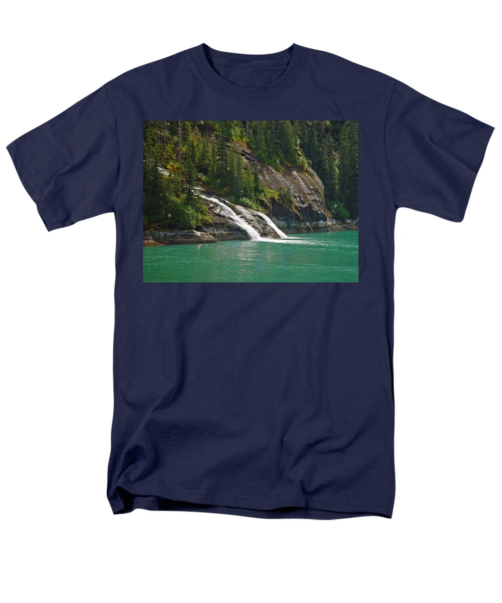 Waterfall Men's T-Shirt (Regular Fit) featuring the photograph Alaska Tracy Arm by Heather Coen