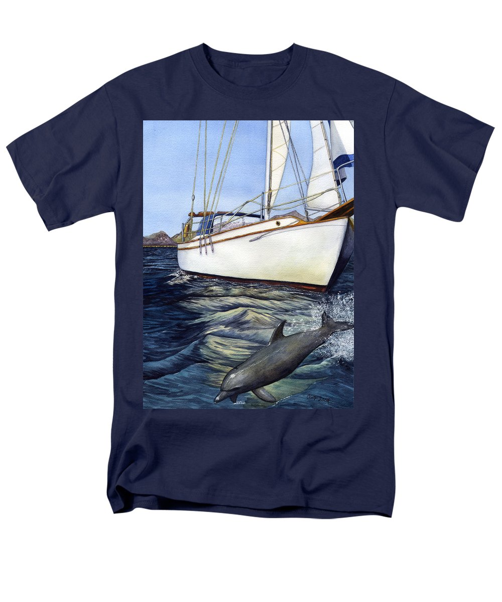 Sailing Men's T-Shirt (Regular Fit) featuring the painting Brief Encounter by Catherine G McElroy