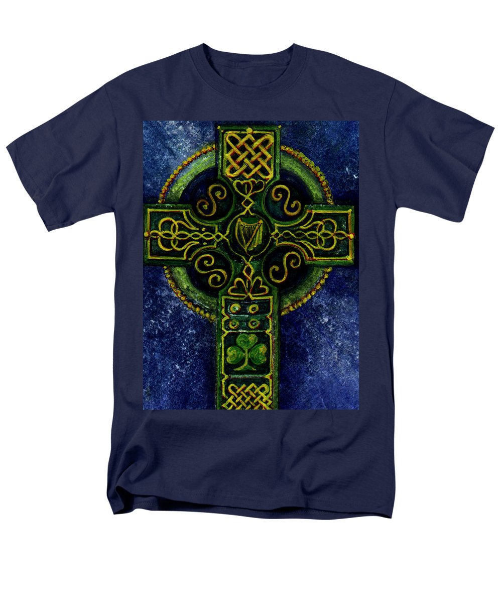Elle Fagan Men's T-Shirt (Regular Fit) featuring the painting Celtic Cross - Harp by Elle Smith Fagan