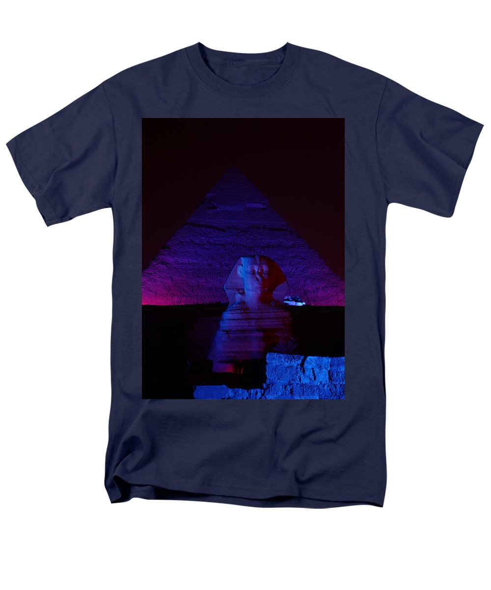 Pyramid Men's T-Shirt (Regular Fit) featuring the photograph Cheops in Blue by Donna Corless