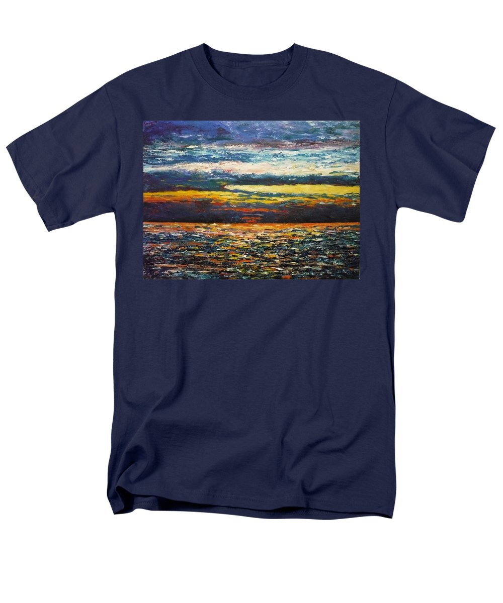 Landscape Men's T-Shirt (Regular Fit) featuring the painting Cold Sunset by Ericka Herazo