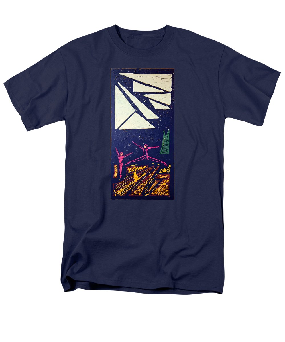 Dancers Men's T-Shirt (Regular Fit) featuring the mixed media Dancing Under The Starry Skies by J R Seymour