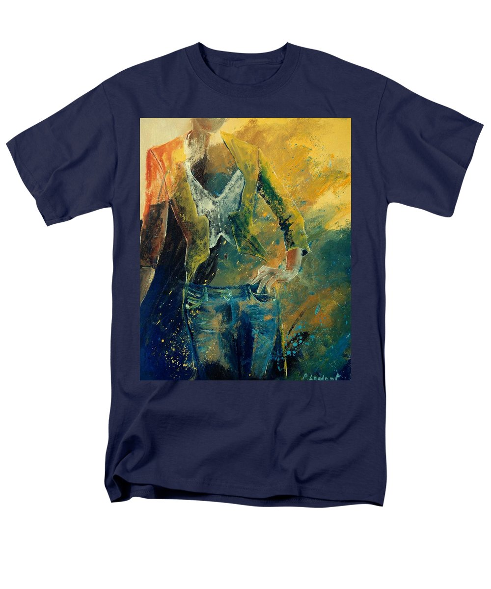 Woman Girl Fashion Men's T-Shirt (Regular Fit) featuring the painting Dinner Jacket by Pol Ledent