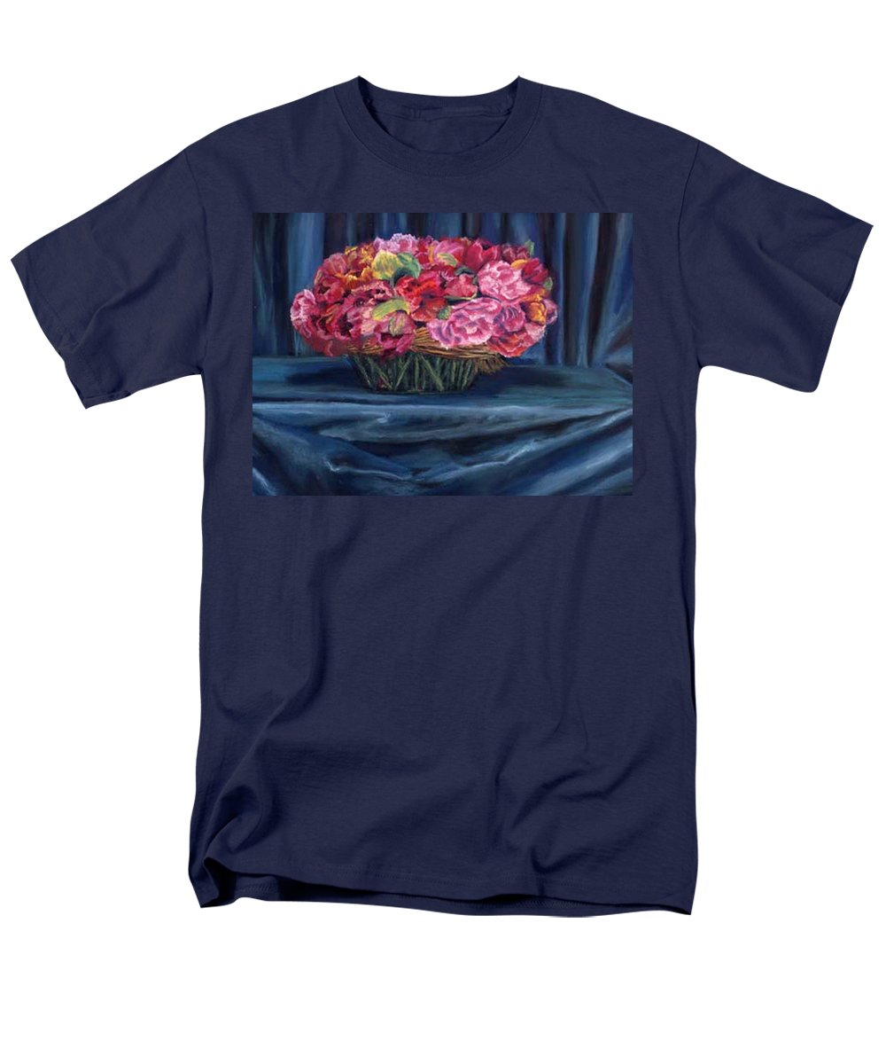 Flowers Men's T-Shirt (Regular Fit) featuring the painting Fabric And Flowers by Sharon E Allen