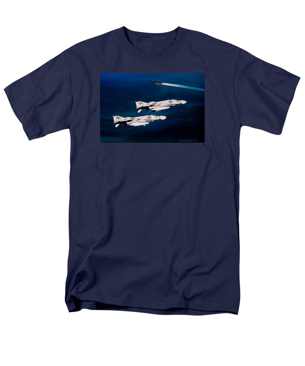 Military Men's T-Shirt (Regular Fit) featuring the painting Forrestal S Phantoms by Marc Stewart
