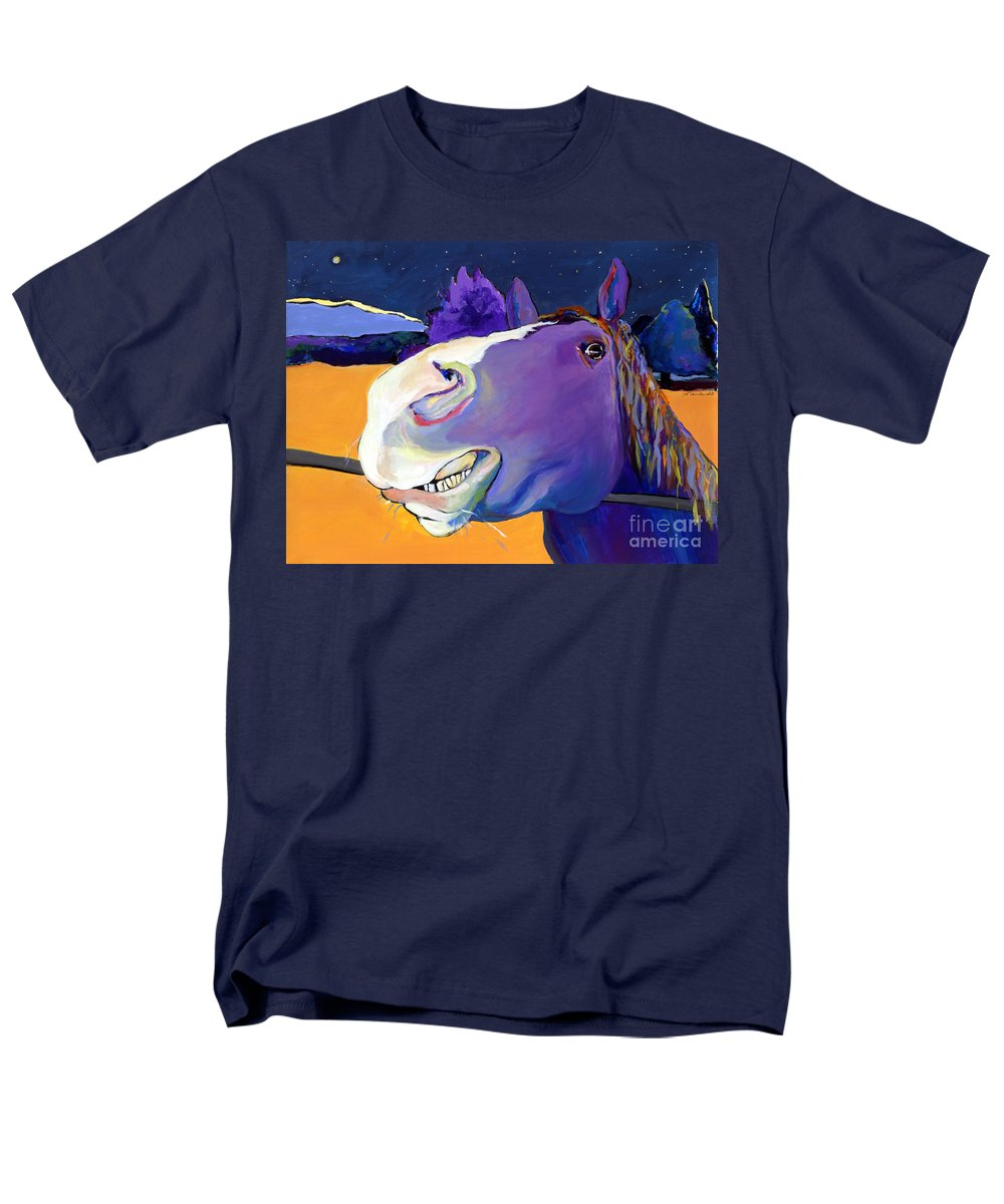 Barnyard Animal Men's T-Shirt (Regular Fit) featuring the painting Got Oats   by Pat Saunders-White