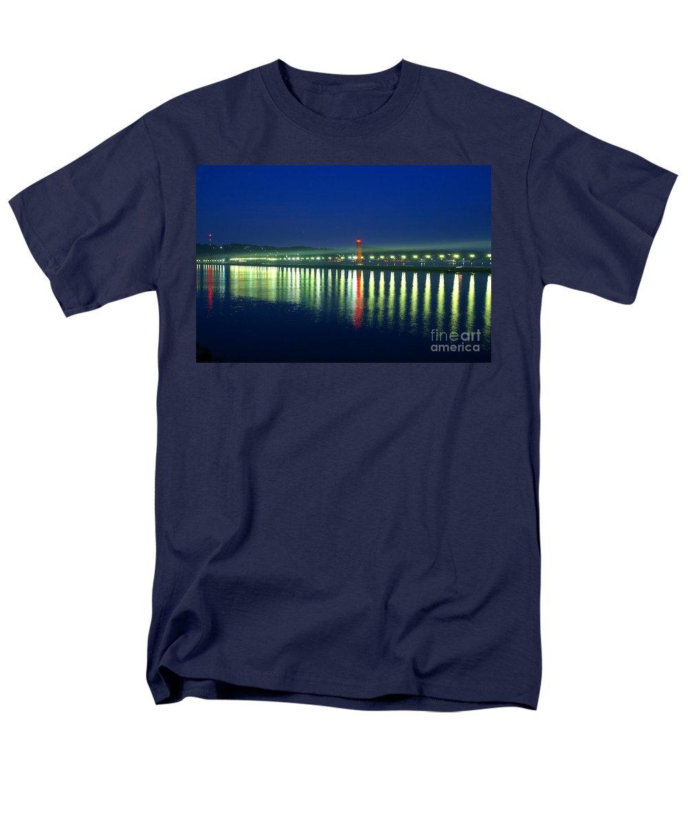 Pier Men's T-Shirt (Regular Fit) featuring the photograph Guiding light by Robert Pearson
