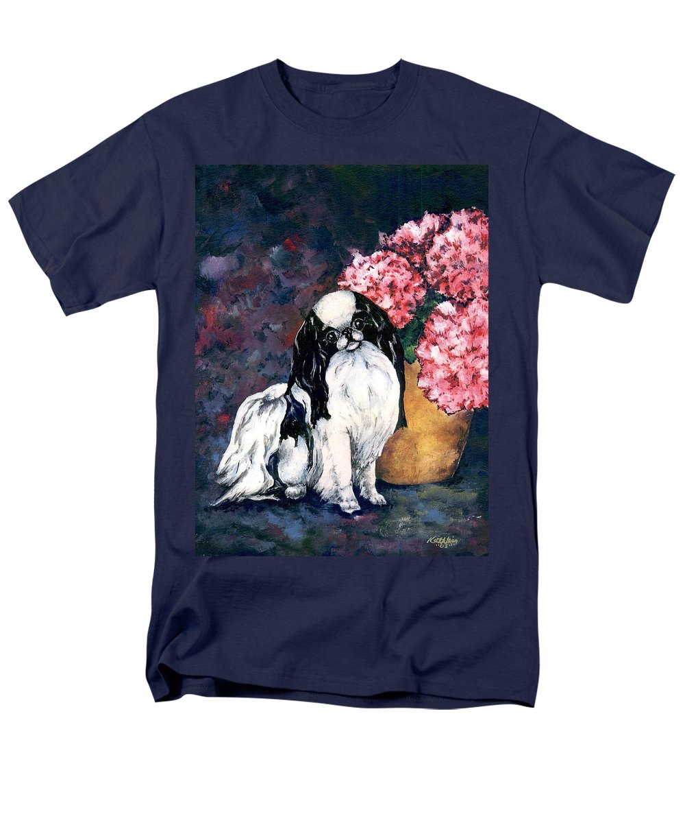 Japanese Chin Men's T-Shirt (Regular Fit) featuring the painting Japanese Chin and Hydrangeas by Kathleen Sepulveda