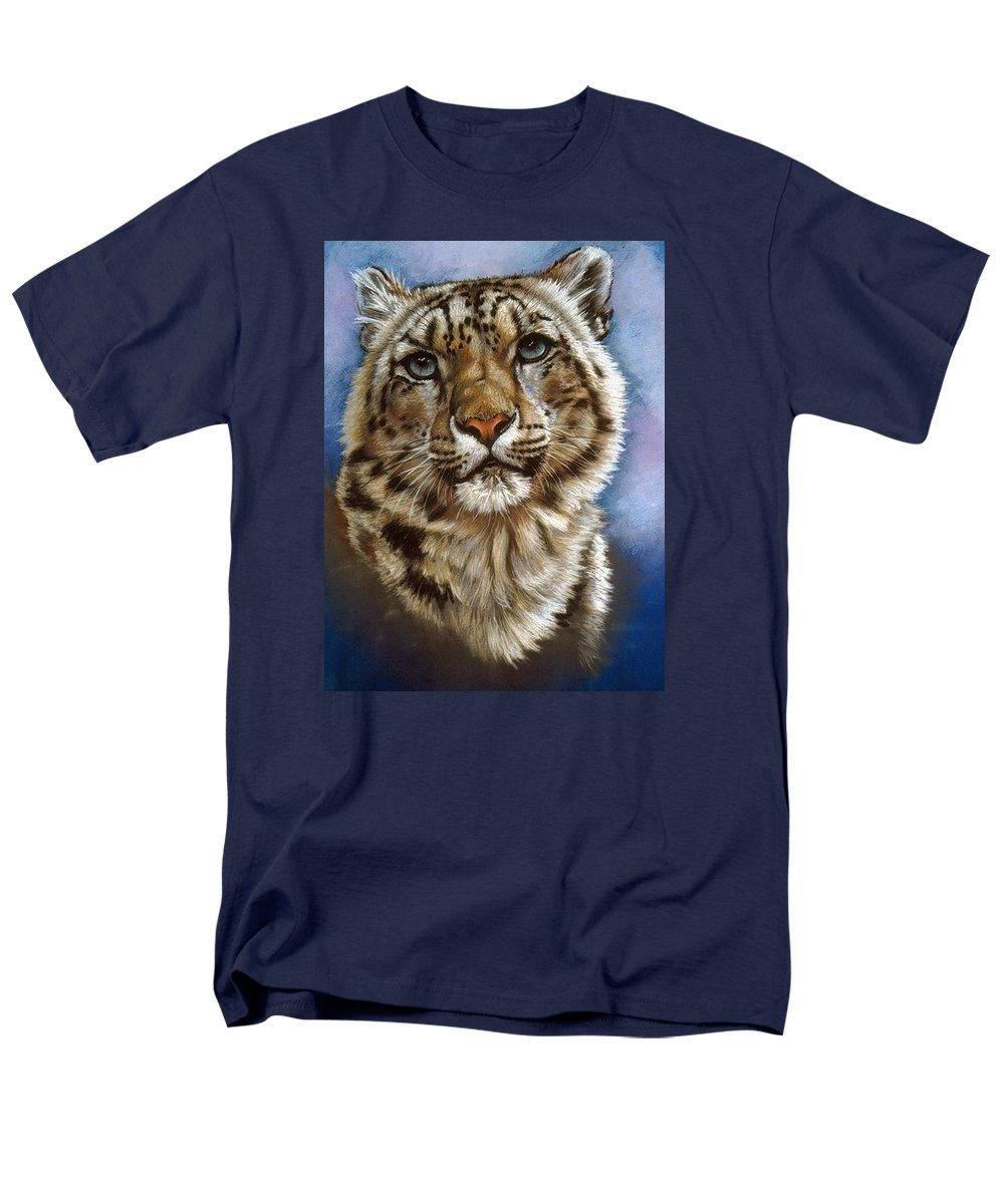 Snow Leopard Men's T-Shirt (Regular Fit) featuring the pastel Jewel by Barbara Keith