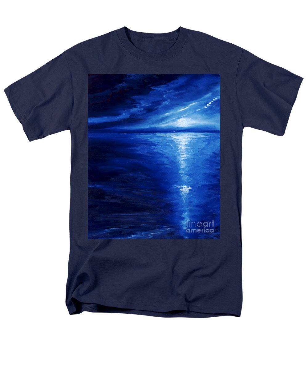 Blue Moon Men's T-Shirt (Regular Fit) featuring the painting Magical Moonlight by James Christopher Hill