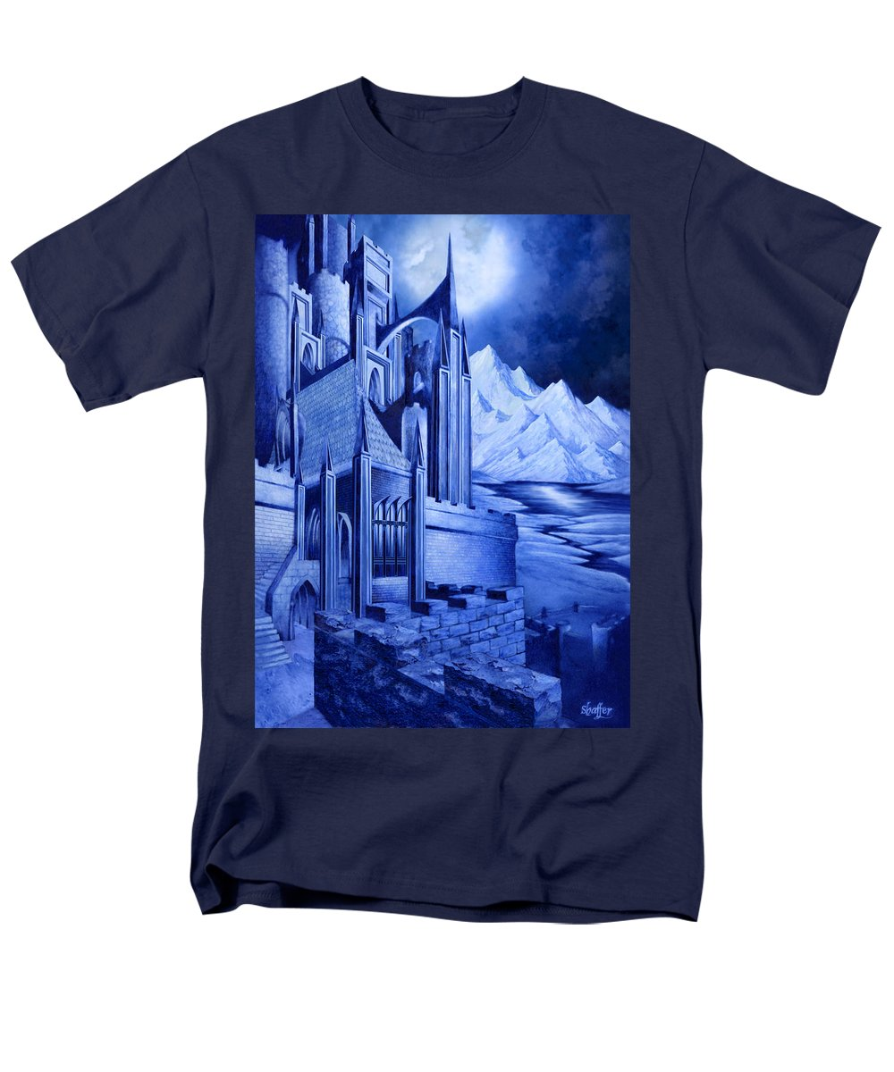 Lord Of The Rings Men's T-Shirt (Regular Fit) featuring the mixed media Minas Tirith by Curtiss Shaffer