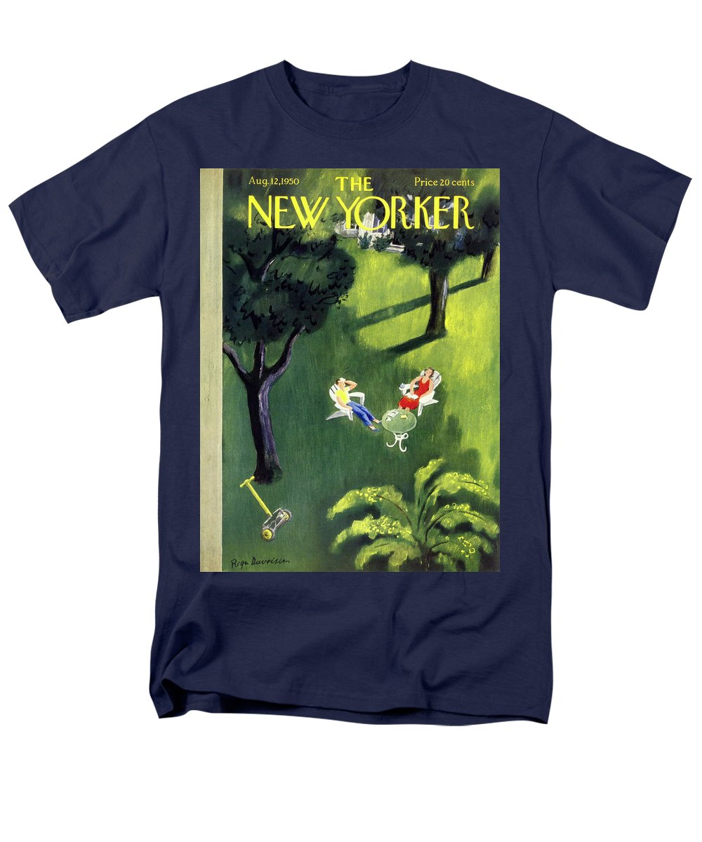 Couple Men's T-Shirt (Regular Fit) featuring the painting New Yorker August 12 1950 by Roger Duvoisin