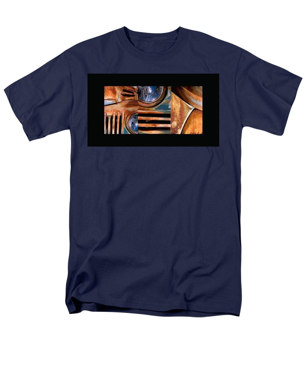 Abstract Photo Of Chevy Truck Men's T-Shirt (Regular Fit) featuring the photograph Red Head On by Steve Karol