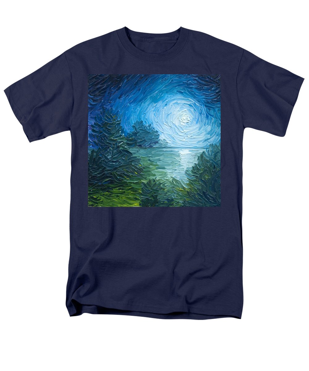 Nature; Lake; Sunset; Sunrise; Serene; Forest; Trees; Water; Ripples; Clearing; Lagoon; James Christopher Hill; Jameshillgallery.com; Foliage; Sky; Realism; Oils; Moon; Moonlight; Reflection; Blue; Lapis Men's T-Shirt (Regular Fit) featuring the painting River Moon by James Christopher Hill
