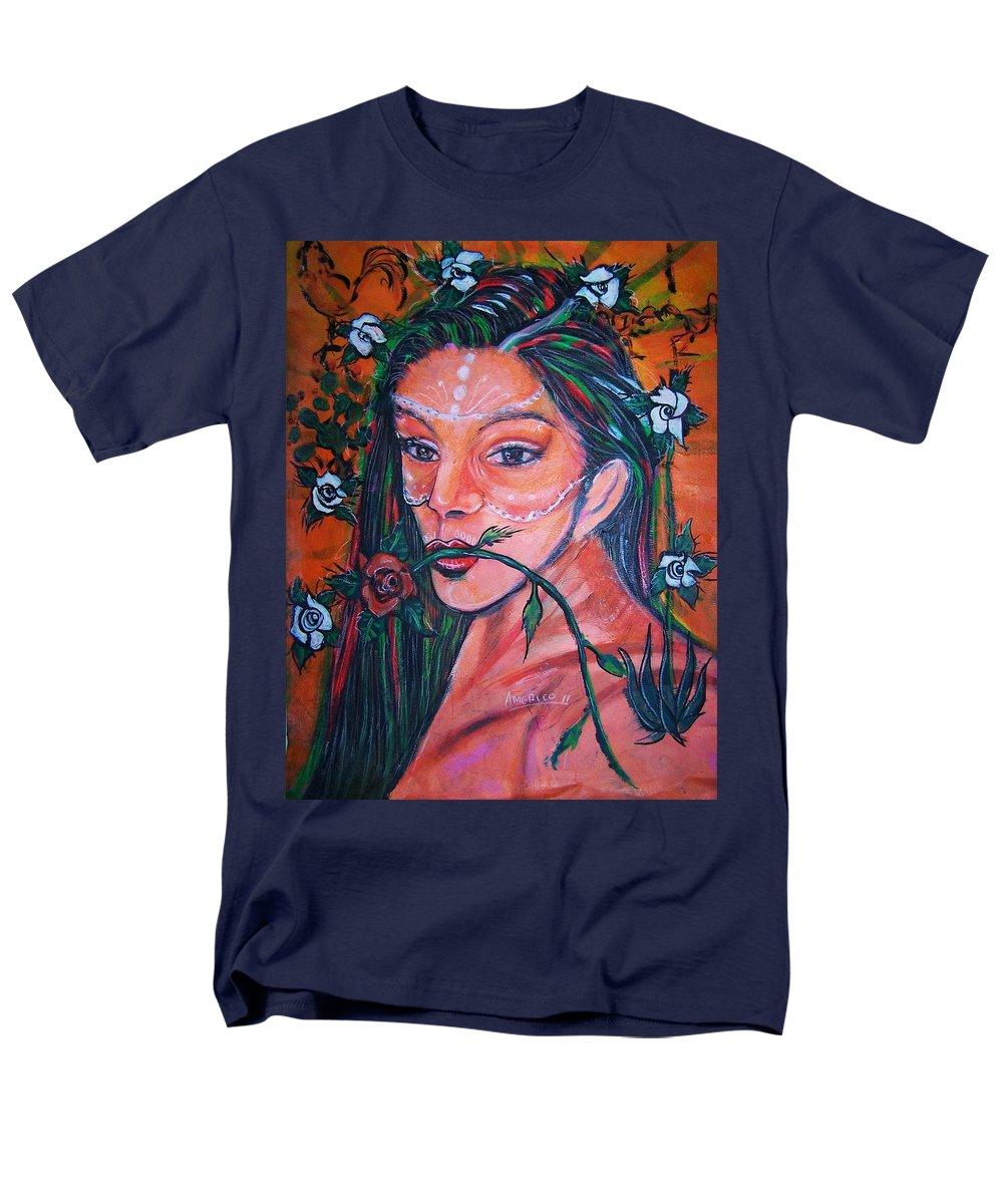 Latina Men's T-Shirt (Regular Fit) featuring the painting Rosales Latina by Americo Salazar
