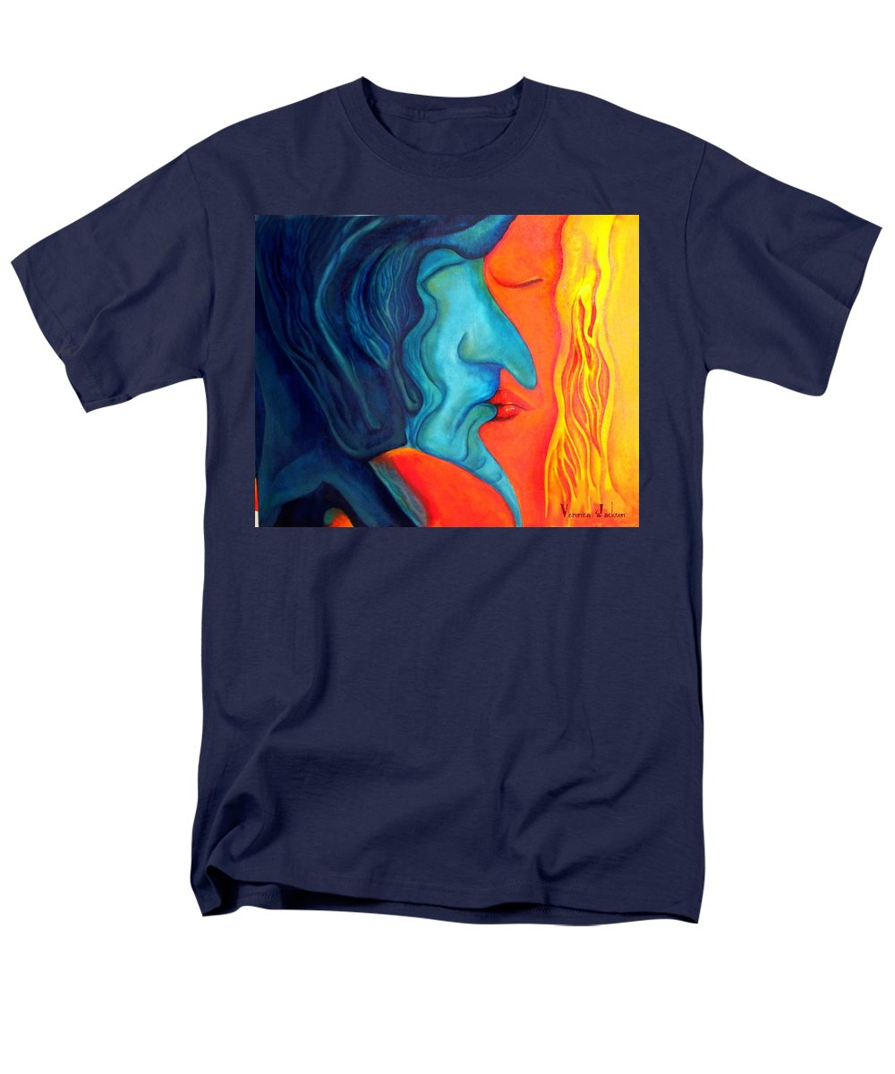 Kiss Love Passion Couple Intensity Blue Orange Fire Lust Sex Men's T-Shirt (Regular Fit) featuring the painting The Kiss by Veronica Jackson
