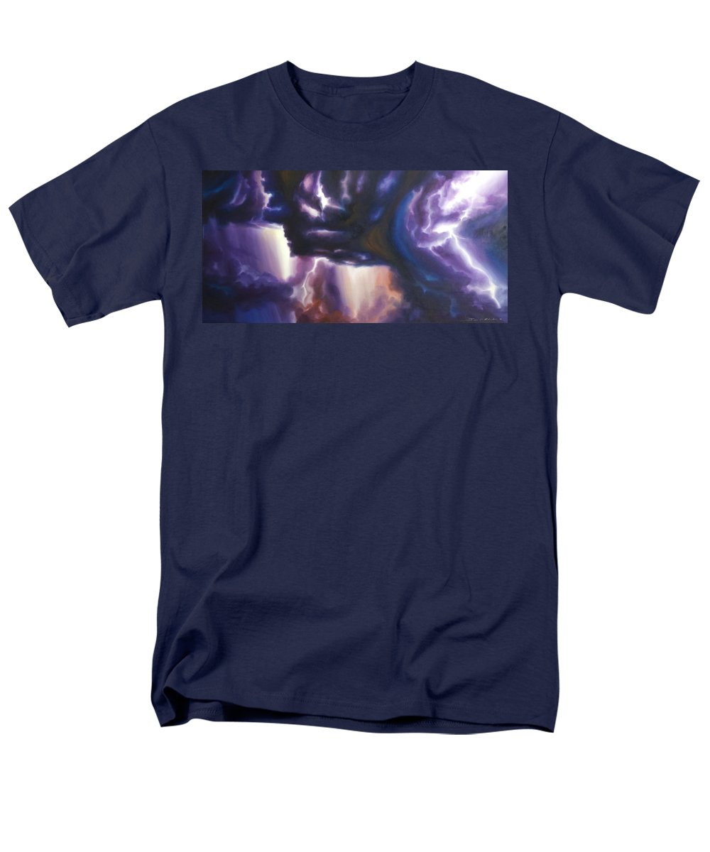 Tempest Men's T-Shirt (Regular Fit) featuring the painting The Lightning by James Christopher Hill