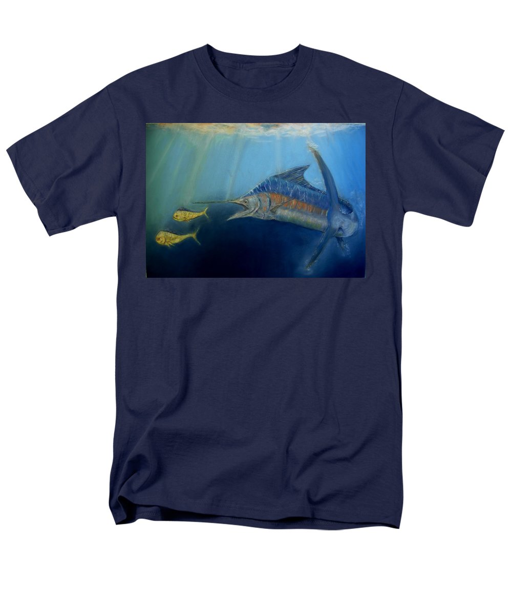 Marine Wildlife Men's T-Shirt (Regular Fit) featuring the pastel Two For Lunch by Melanie Alvarado