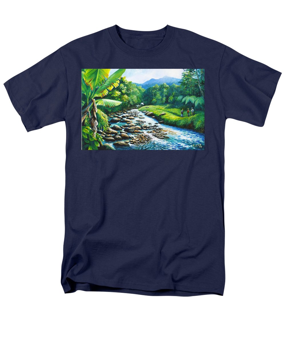 Chris Cox Men's T-Shirt (Regular Fit) featuring the painting Upriver by Christopher Cox