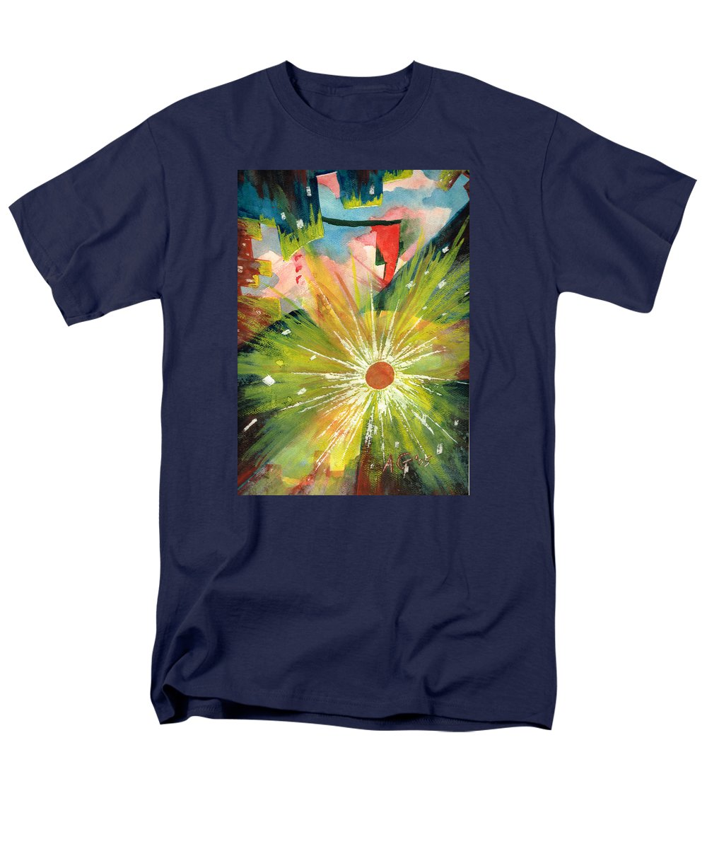 Downtown Men's T-Shirt (Regular Fit) featuring the painting Urban Sunburst by Andrew Gillette