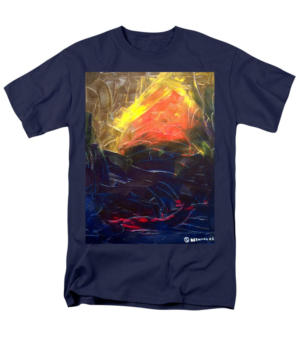 Duck Men's T-Shirt (Regular Fit) featuring the painting Forest .Part1 by Sergey Bezhinets