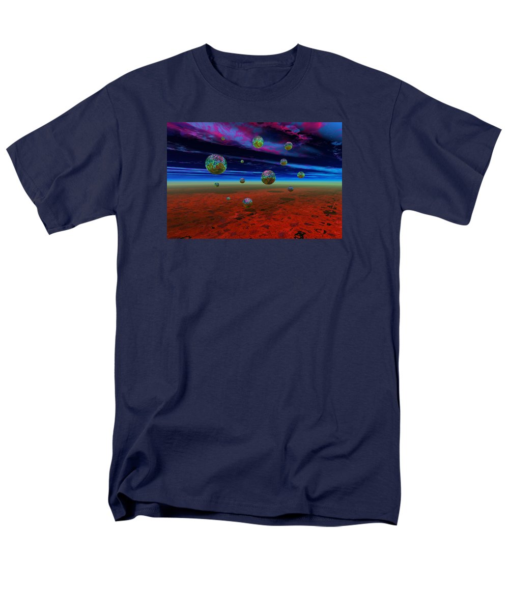 Bryce 3d Digital Fantasy Scifi Men's T-Shirt (Regular Fit) featuring the digital art Landing by Claude McCoy