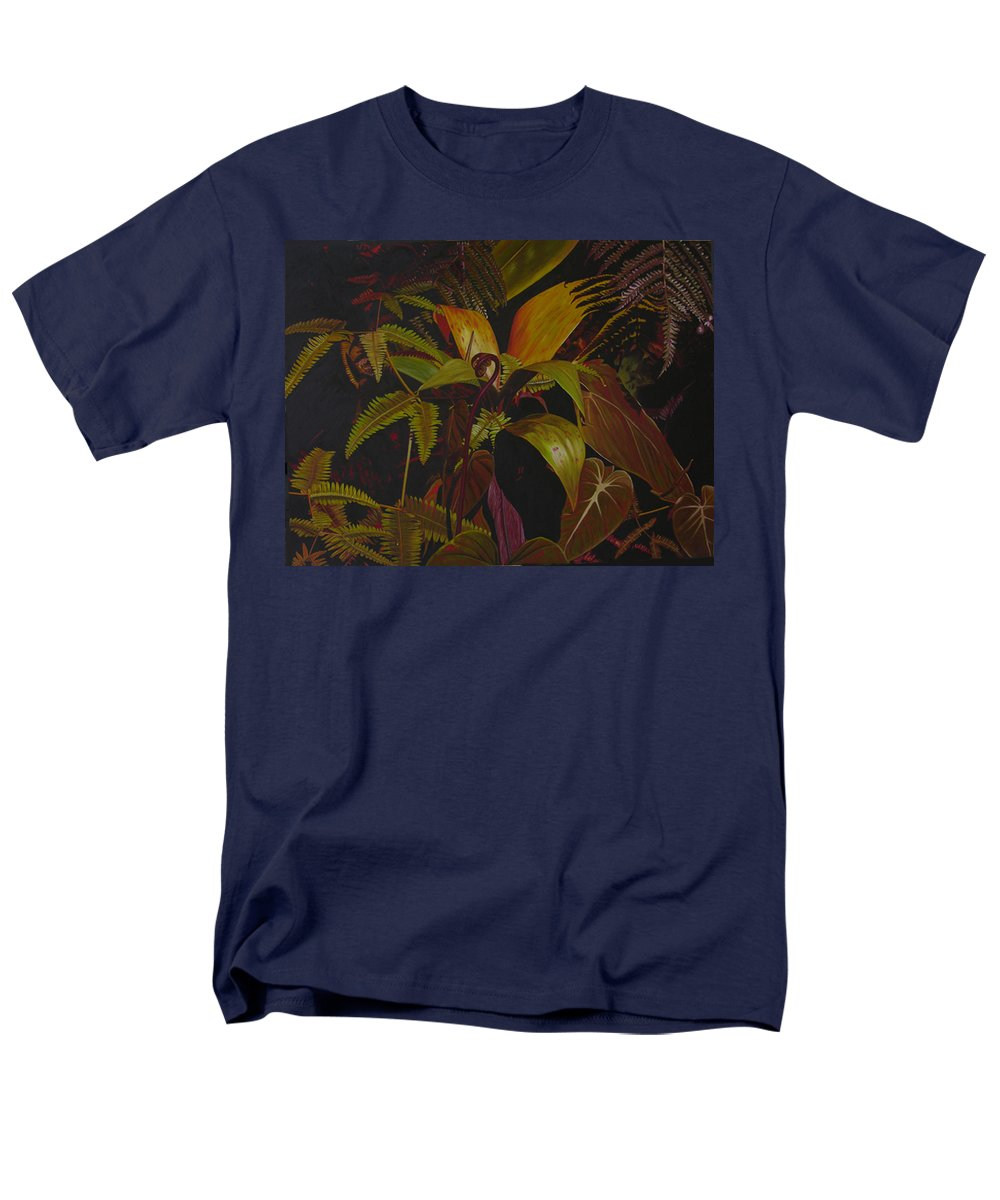 Plant Men's T-Shirt (Regular Fit) featuring the painting Midnight in the garden by Thu Nguyen