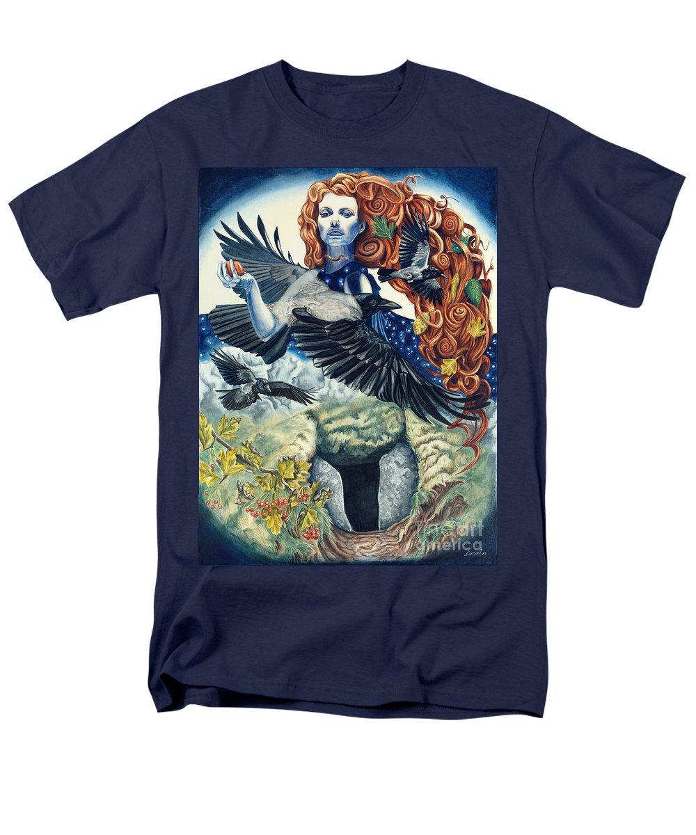 Dark Men's T-Shirt (Regular Fit) featuring the painting The Morrigan by Antony Galbraith
