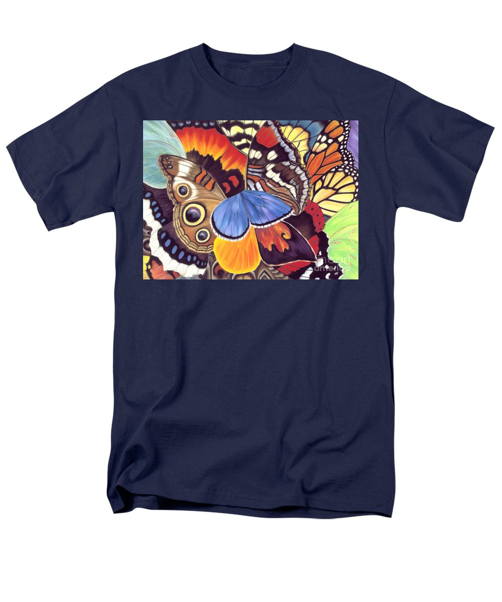 Butterflies Men's T-Shirt (Regular Fit) featuring the painting Wings Of California by Lucy Arnold