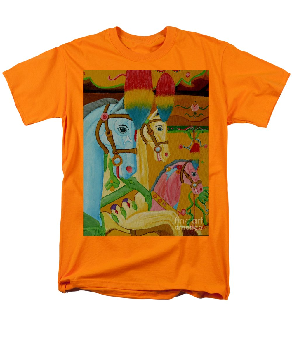 Carousel Men's T-Shirt (Regular Fit) featuring the painting Painted Ponies by Anthony Dunphy