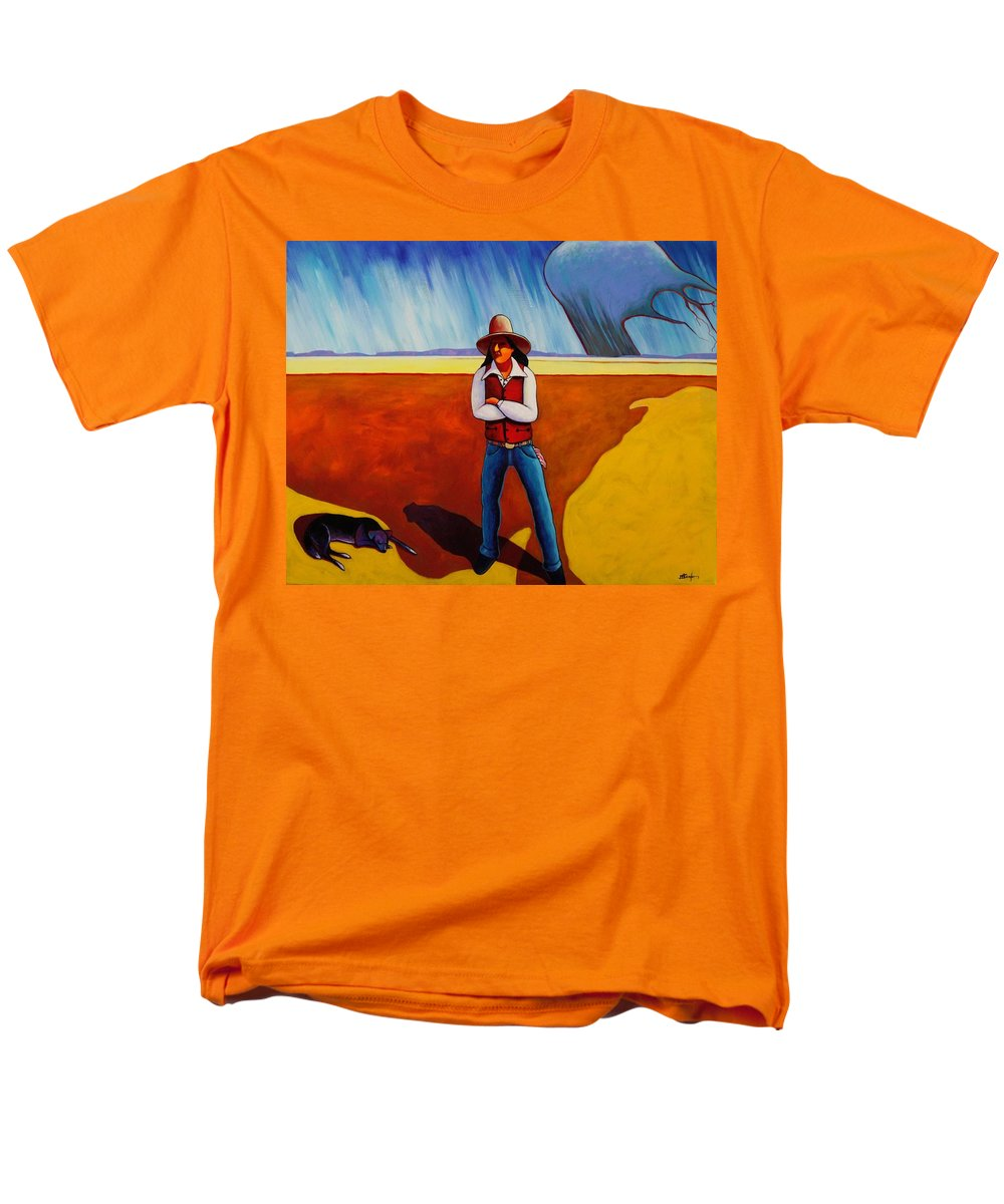 Native American Men's T-Shirt (Regular Fit) featuring the painting The Logic Of Solitude by Joe Triano