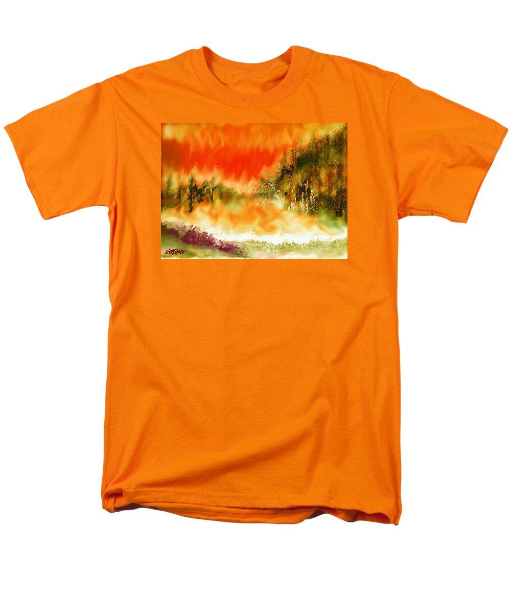 Timber Blaze Men's T-Shirt (Regular Fit) featuring the mixed media Timber Blaze by Seth Weaver
