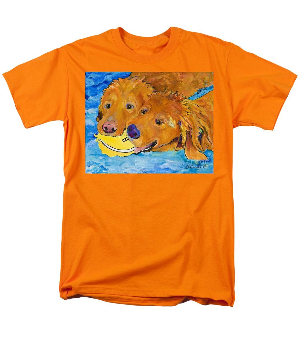 Golden Retriever Men's T-Shirt (Regular Fit) featuring the painting Double Your Pleasure by Pat Saunders-White