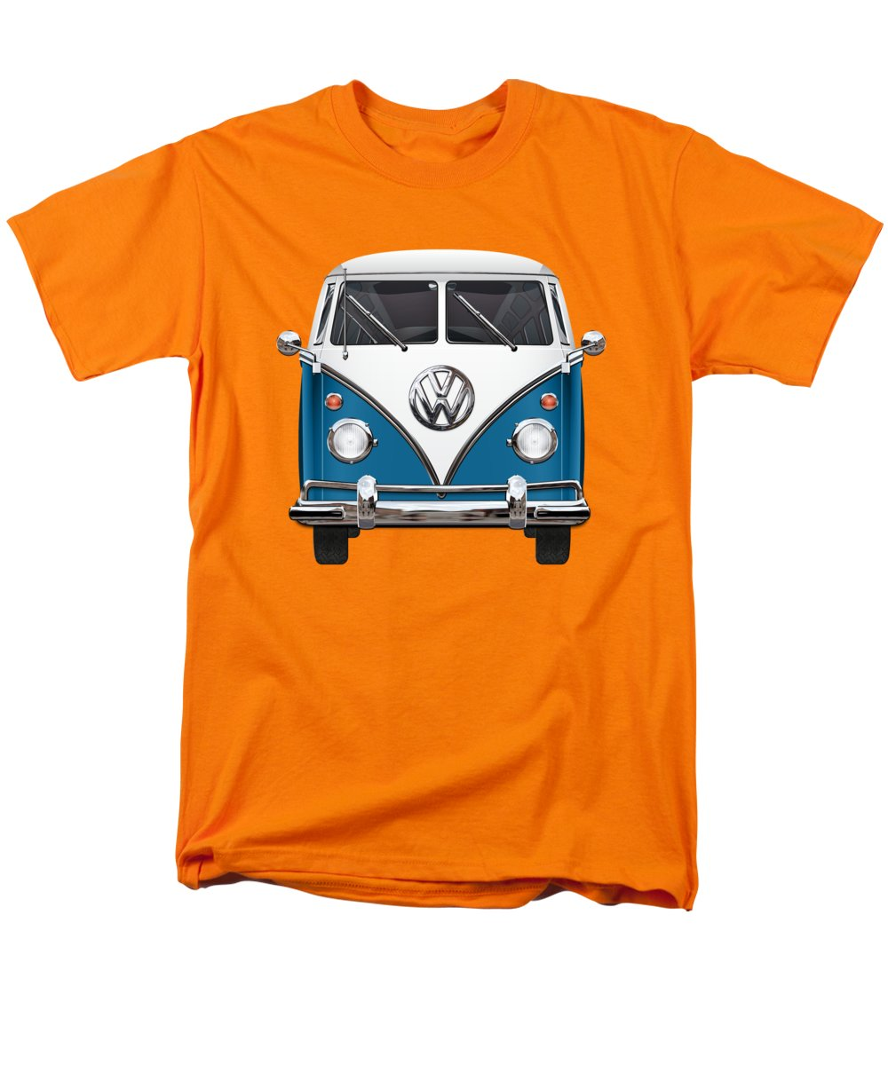 'volkswagen Type 2' Collection By Serge Averbukh Men's T-Shirt (Regular Fit) featuring the photograph Volkswagen Type 2 - Blue And White Volkswagen T 1 Samba Bus Over Orange Canvas by Serge Averbukh